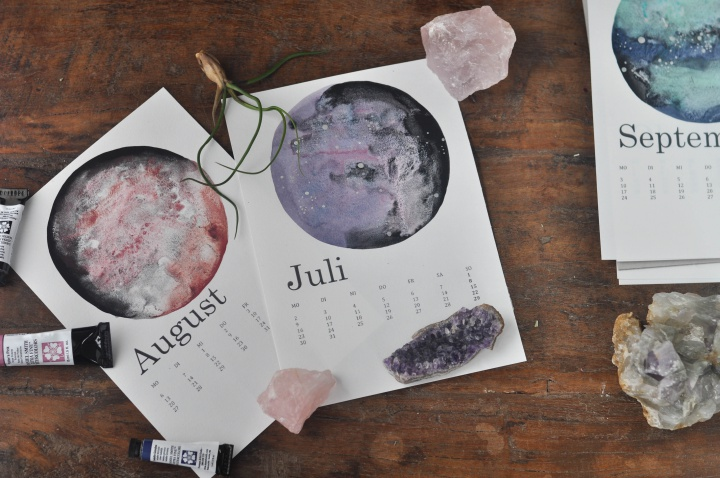DIY Calendar with watercolor galaxies and moons, a perfect gift for someone who means the universe to you