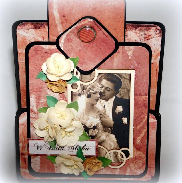 kartka ślubna w stylu retro z ramką w kółka