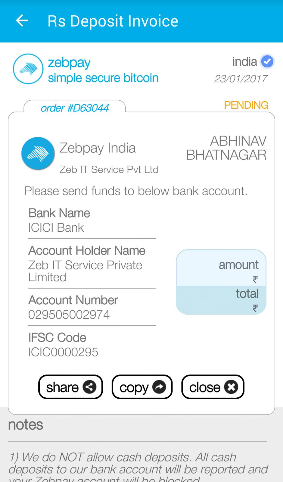zebpay bitcoin india)