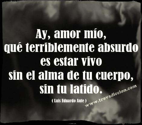 Ay,Amor mio,qué terriblemente absurdo es estar vivo,sin el alma de tu cuerpo ,sin tu latido.