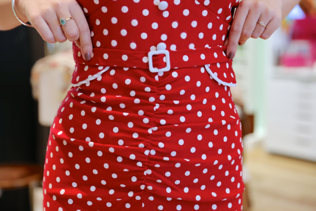 The Stop Staring Celebrity polka dot dress in red