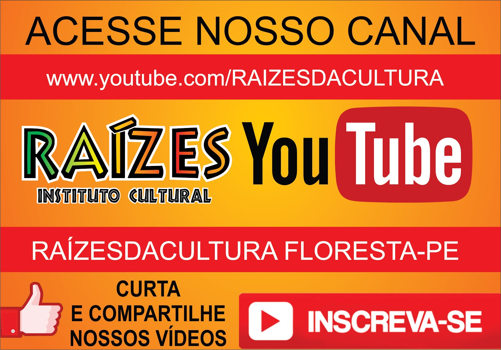 CANAL DE VÍDEOS DO INSTITUTO RAÍZES NO YOUTUBE