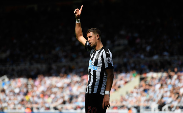 Newcastle defender Florian Lejeune in action during the Premier League match between Newcastle United and Tottenham Hotspur at St. James Park on August 13, 2017 in Newcastle upon Tyne, England