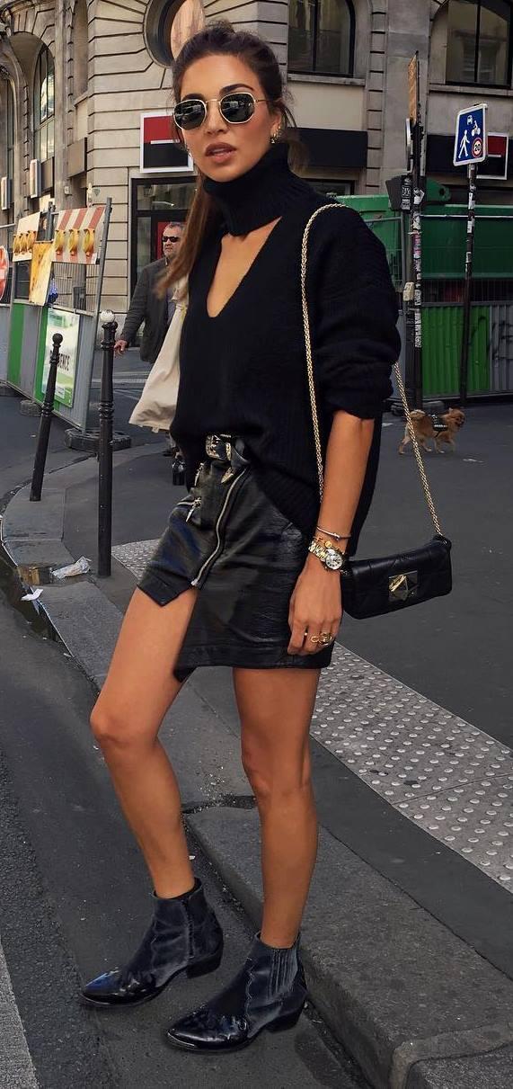 trendy black outfit idea