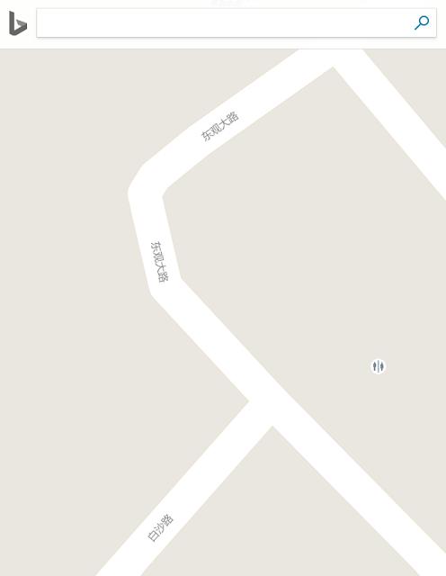 Bing Maps China for the intersection of Baisha Road and Dongguan Road in Jiangmen