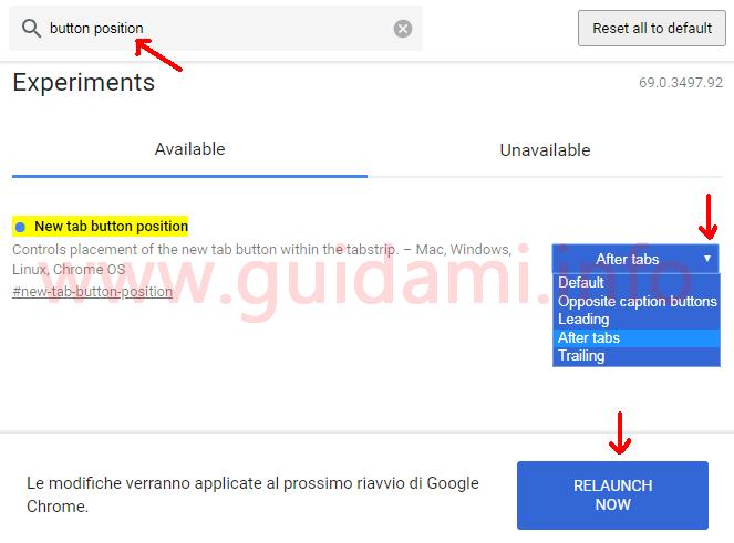 Chrome pagina chrome flags opzione per cambiare posizione pulsante Nuova scheda