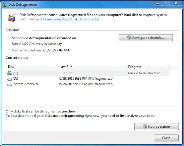 disk defragement