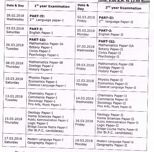 TS Inter (Vocational) 1st and 2nd Year Annual Exam Time Table