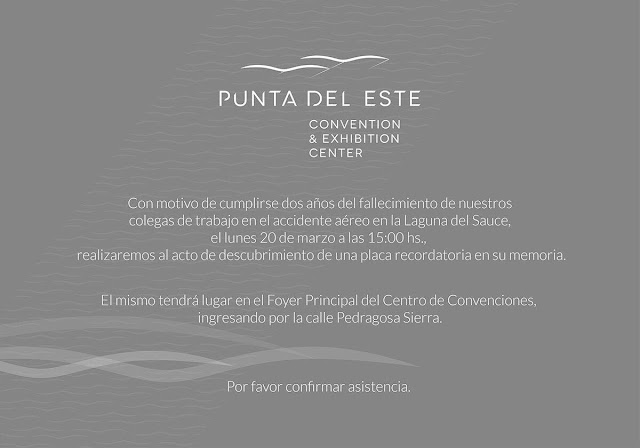 Punta del Este Convention & Exhibition Center rendirá homenaje a los fallecidos en la tragedia del avión