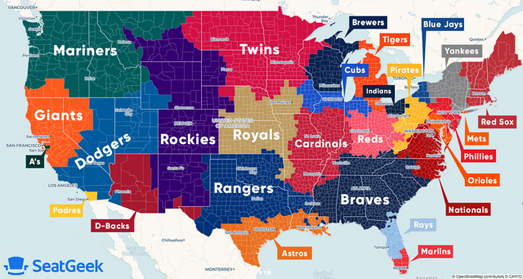 Maps Mania: The Map of Baseball Fandom