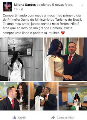Milena Santos: mulher do novo ministro do Turismo vai mostrar bundão no ministério