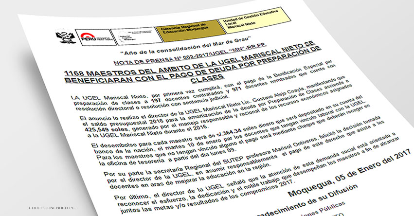BUENA NOTICIA PARA DOCENTES CONTRATADOS: A partir del lunes recibirán pago por preparación de clases - DRE Moquegua