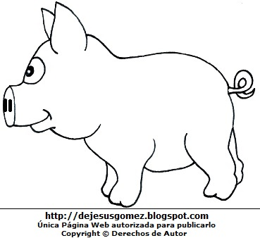 Cerdo parado para colorear, pintar o imprimir. Dibujo de cerdo de Jesus Gómez