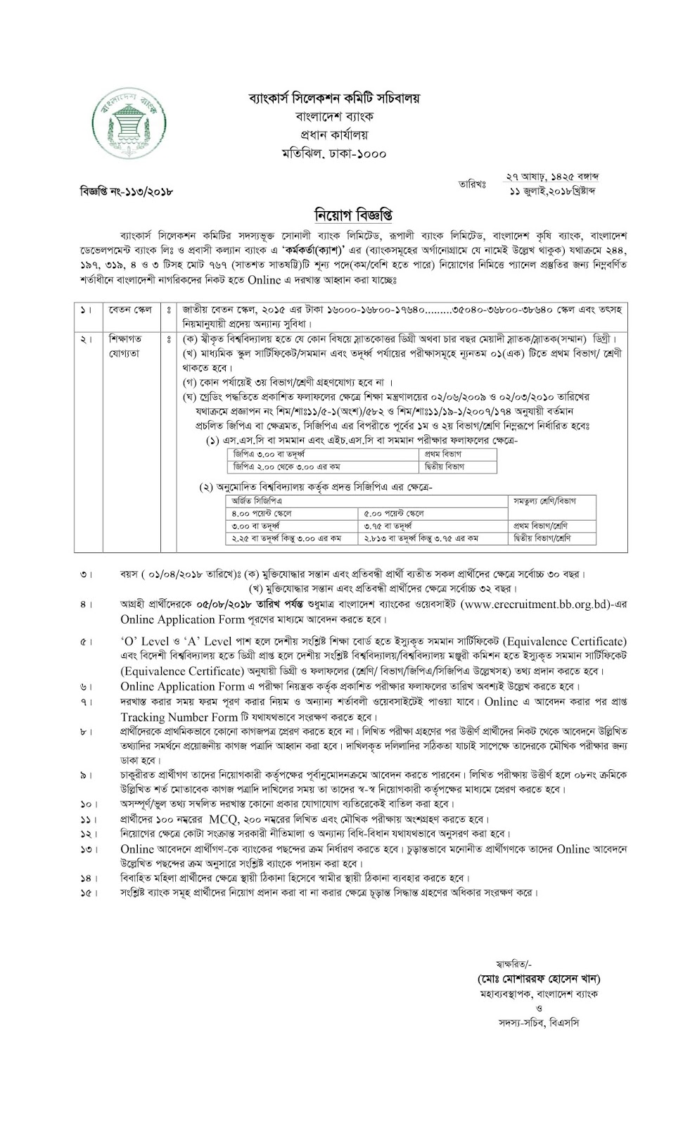 Sonali Bank Limited (SBL) Officer (Cash) Job Circular 2018