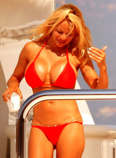 Pamela Anderson In Fast Red Color Two Piece Bikini