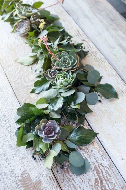 succulent table garland