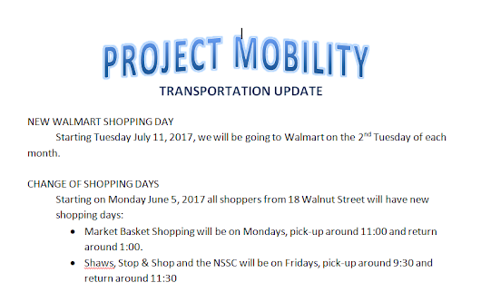 Project Mobility - Transportation Update