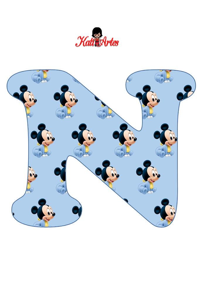 Alfabeto de Mickey Bebé en Fondo Celeste. . - Oh my Alfabetos!