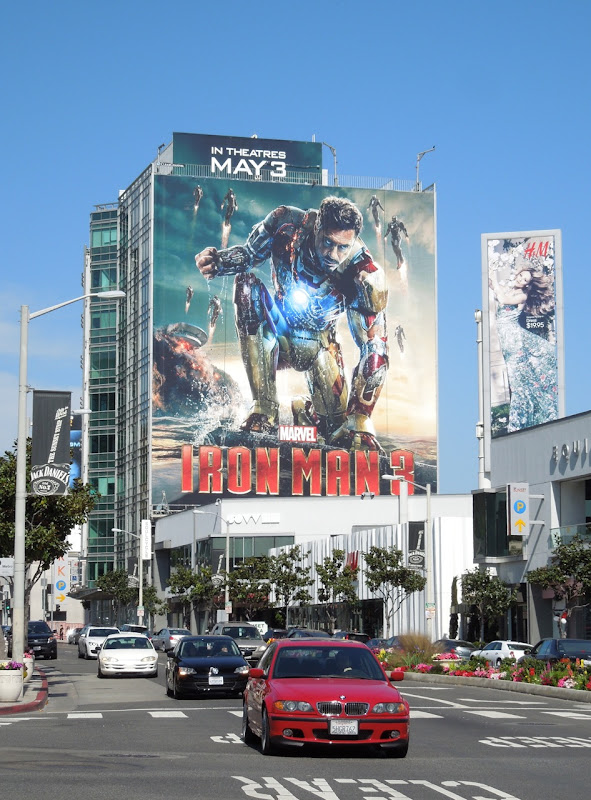 Giant Iron Man 3 billboard Sunset Strip