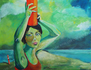 opmærksom,kunst, maleri, painter, paint, noget på hjertet, storrytelling, glade farver, hav, himmel, pige, ocean, sky, girl,