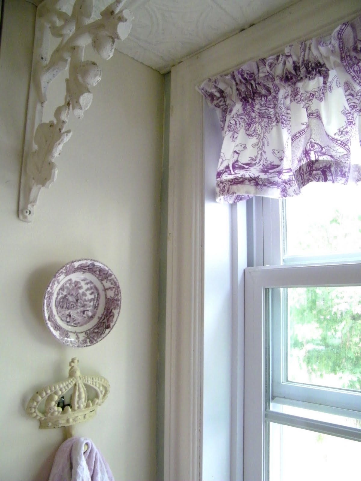 Purple Toile Kitchen Curtains