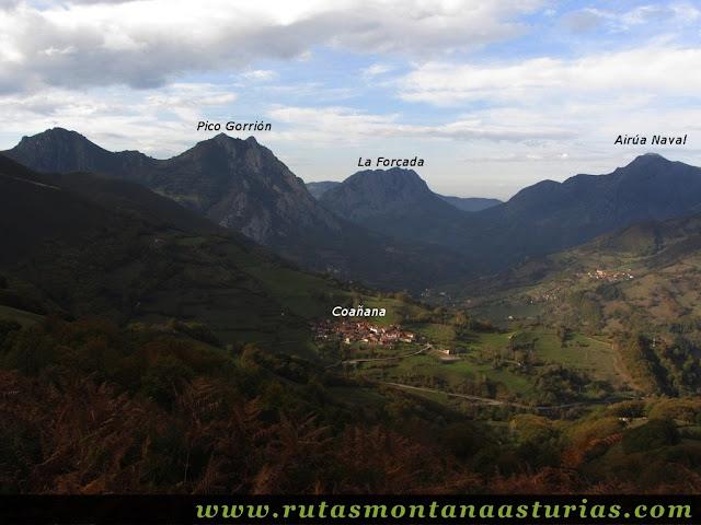Circular Coañana Saleras: Vista del Pico Gorrión, La Forcada y Airúa Naval