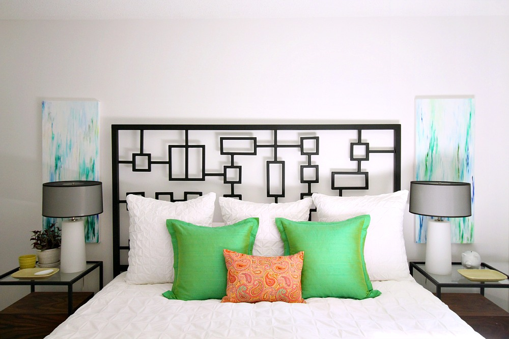 Art on either side of headboard