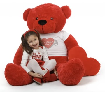 Big red Bitsy Cuddles in a personalized heart shirt