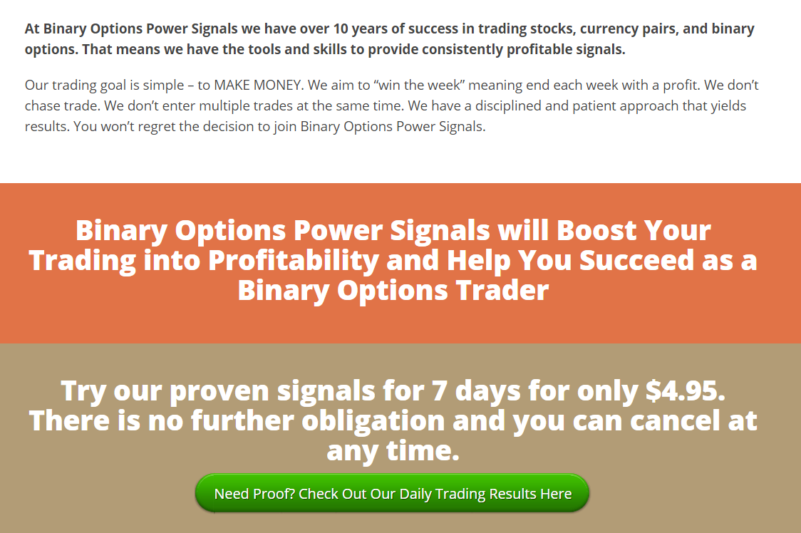 Binary options power signals