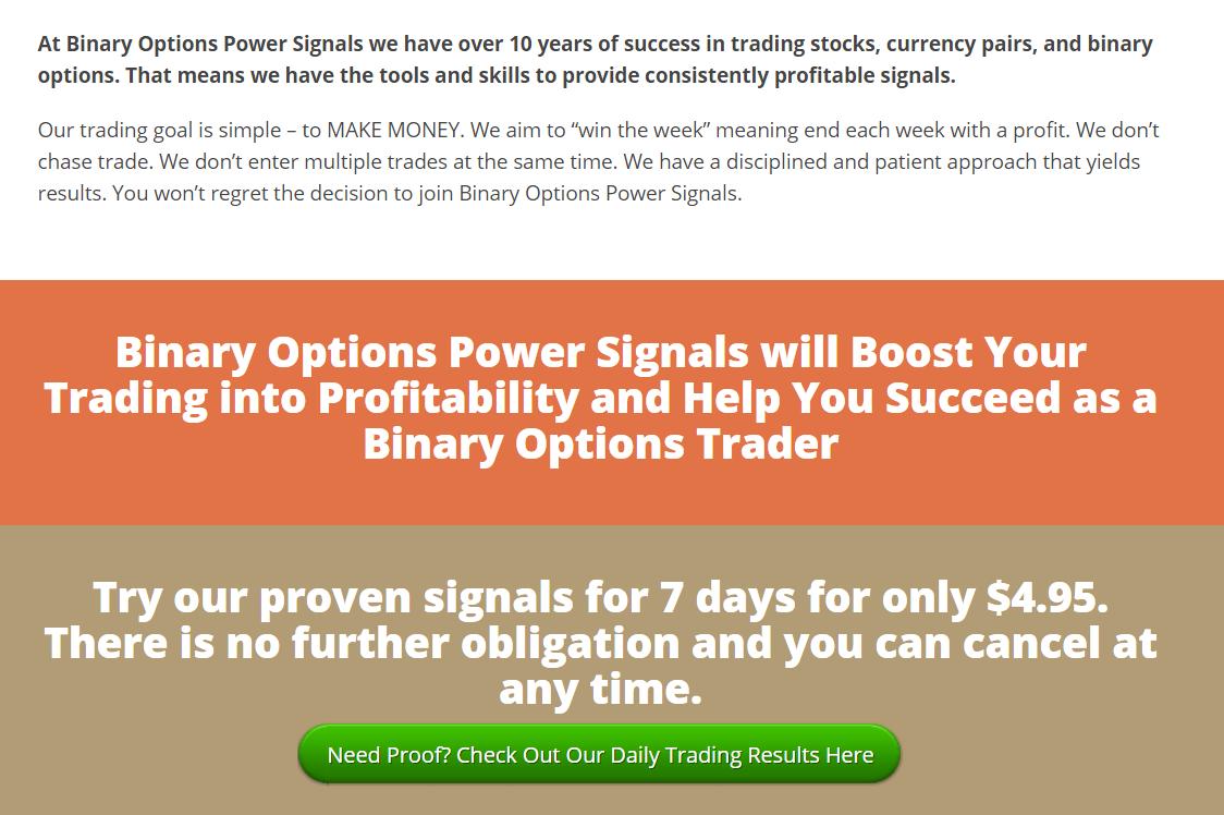 Binary options power signals