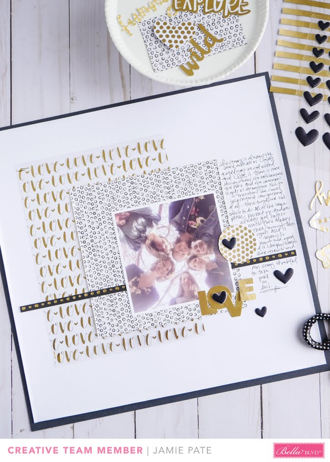 How to Add Gold Foil Glam on a Page Layout by Jamie Pate for Bella Blvd | @jamiepate for @bellablvd