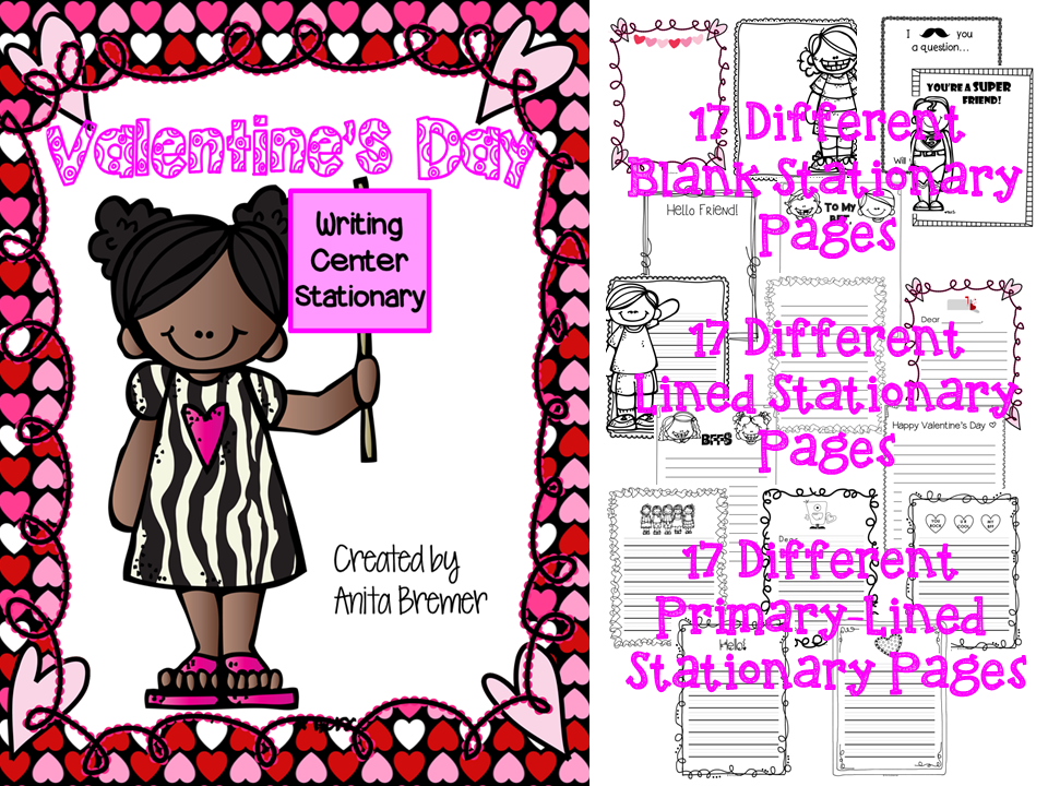 Valentine's Day writing center stationery pack