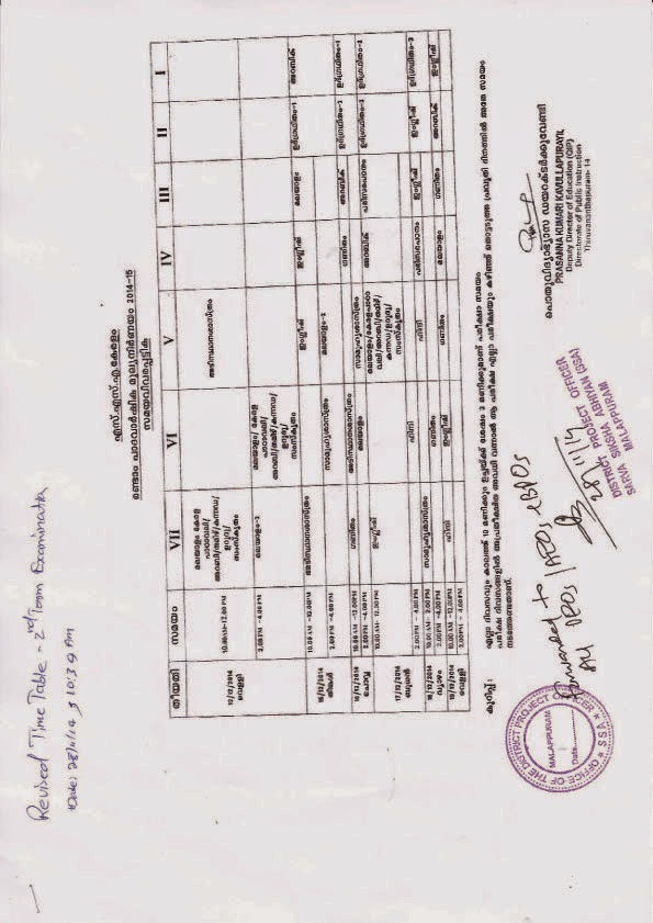 BRC VENGARA: Second Term Examination Time table