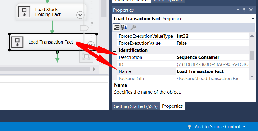 Visual Studio - SSIS Sequence properties
