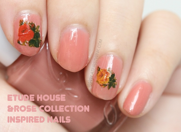 Etude House nail polish BE102 maple syrup with roses decal