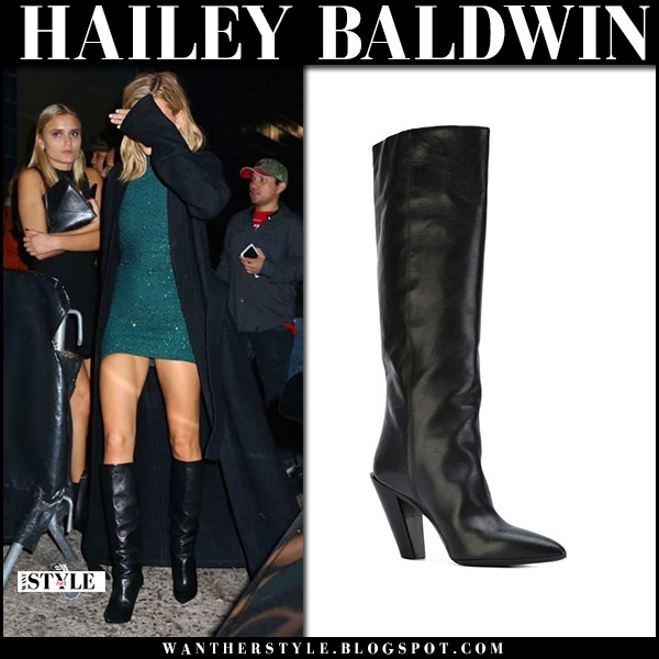Hailey Baldwin in teal mini dress and black leather boots at her birthday party celebrity style november 22