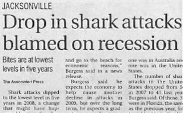 Funny joke news picture image - jacksonville drop in shark attacks