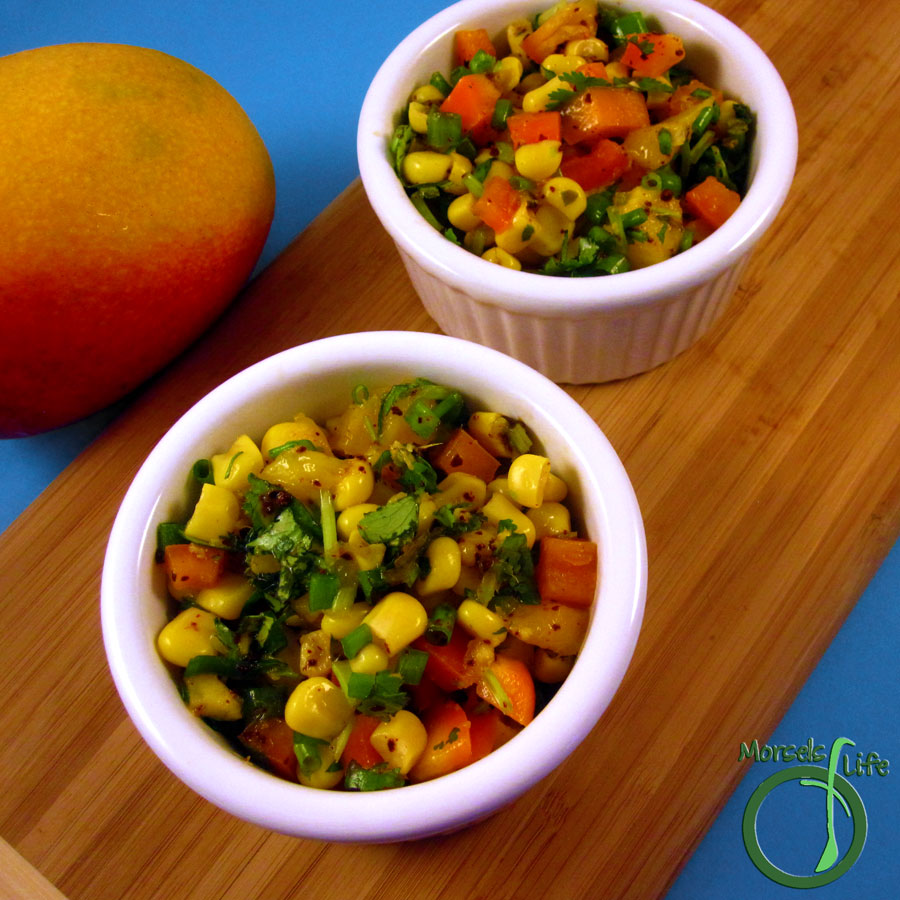 dinner Morsels of Life - Mango Corn Salsa - Combine mango, corn, and some bell pepper for a sweetly tropical flavored mango corn salsa.