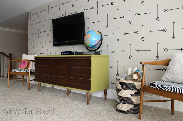 midcentury, dresser, furniture makeover, painted furniture, playroom, makeover