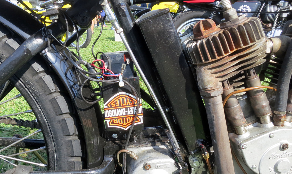 Upside down Harley Davidson logo.