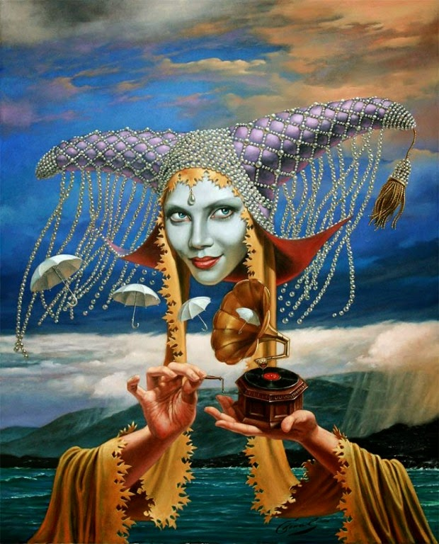 14-Michael-Cheval-Melody-of-the-Rain-Surreal-Absurdist-Paintings-www-designstack-co