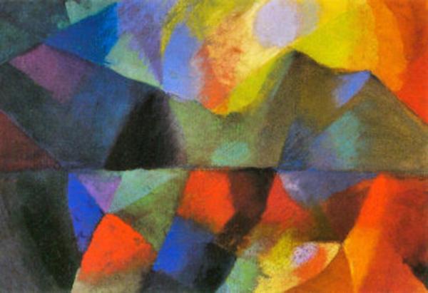 une toile très colorée où le rouge domine