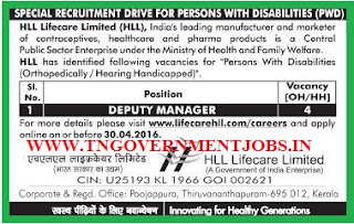 SRD for OH / HH candidates to appoint as Deputy Manager in HLL