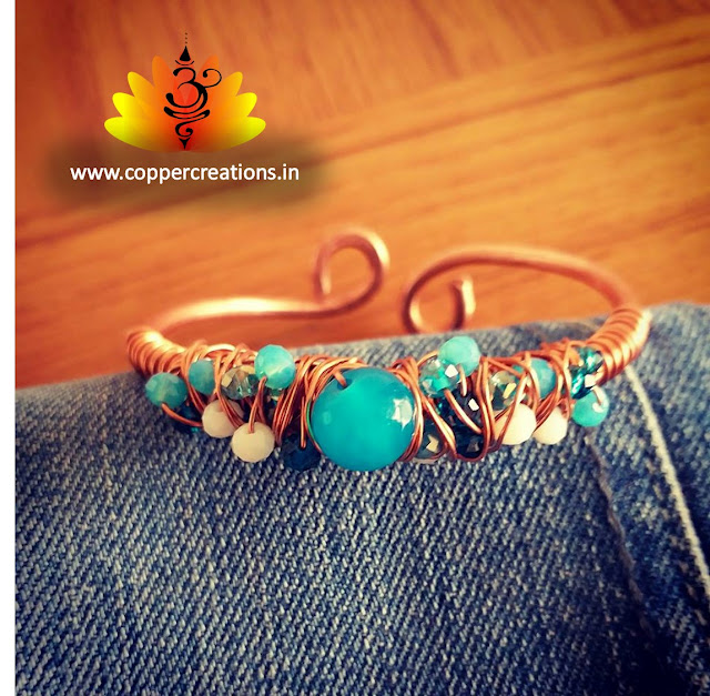 Copper Braclets/Bangles, Copper Jewelry, Wire Wrapped Jewellery