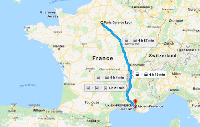 Mapa da viagem de trem de Paris a Aix