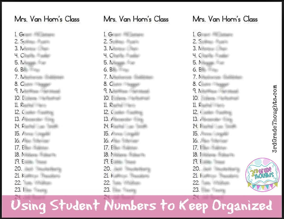 Using student numbers to keep organized 3rd grade thoughts