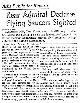 Rear Admiral Declares Flying Saucers Sighted - USA News Report 1-17-1957