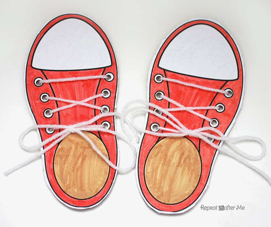 learning to lace and tie your shoe craft   repeat crafter me