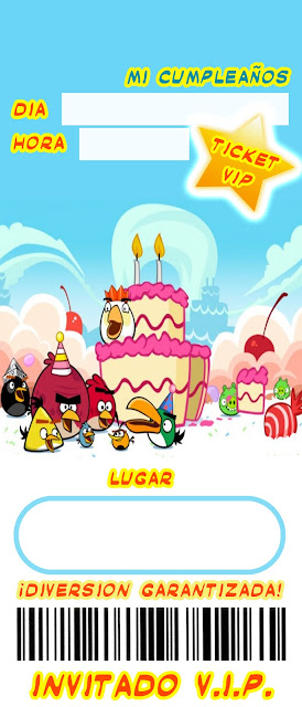 Invitación de Cumpleaños estilo Ticket con diseño de Angry Birds