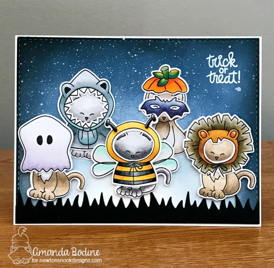 Halloween Cat in Costumes Card by Amanda Bodine | Newton's Costume Party Stamp Set and Die Set by Newton's Nook Designs #newtonsnook #handmade